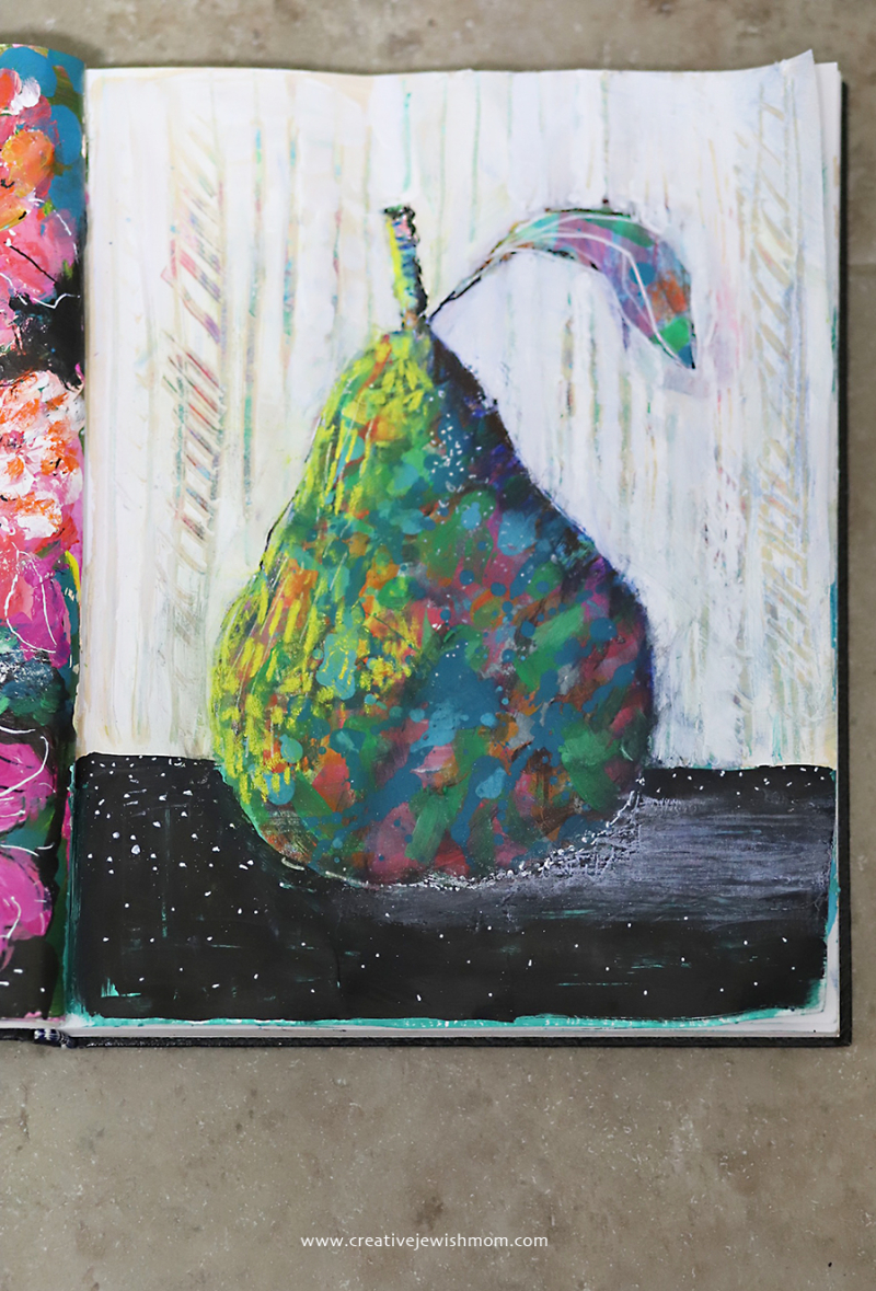 Painted-abstract-pear-colorful