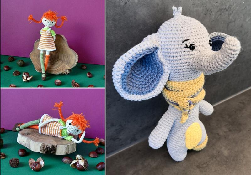 Crochet-elephant crochet-pippi-long-stocking