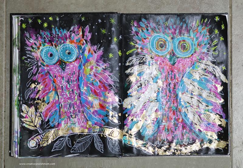 Owl-paintings-in-sketchbook