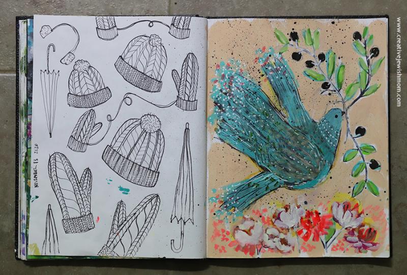 Sketchbook-knit-hats-mittens-umbrellas