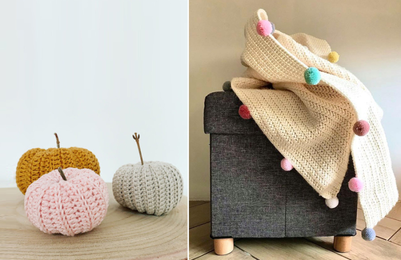 Crocheted-creme-blanket-with-pom-poms
