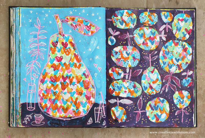 Pear-of-hearts-sketchbook-painting