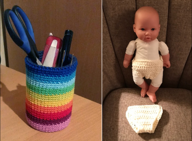 Crocheted-rainbow-pen-cup crocheted-baby-doll-diaper