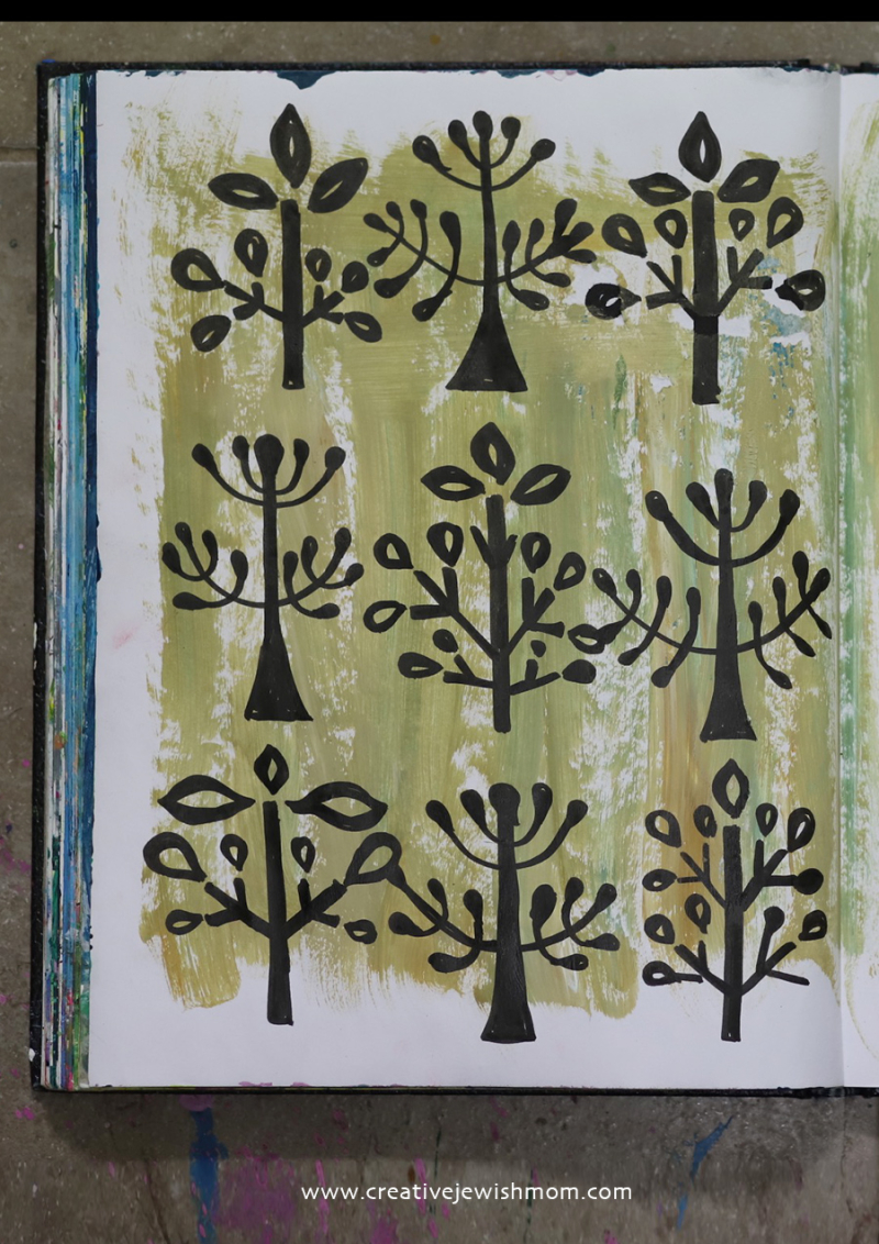 Folk-art-doodle-trees-in-bloom-how-to-draw
