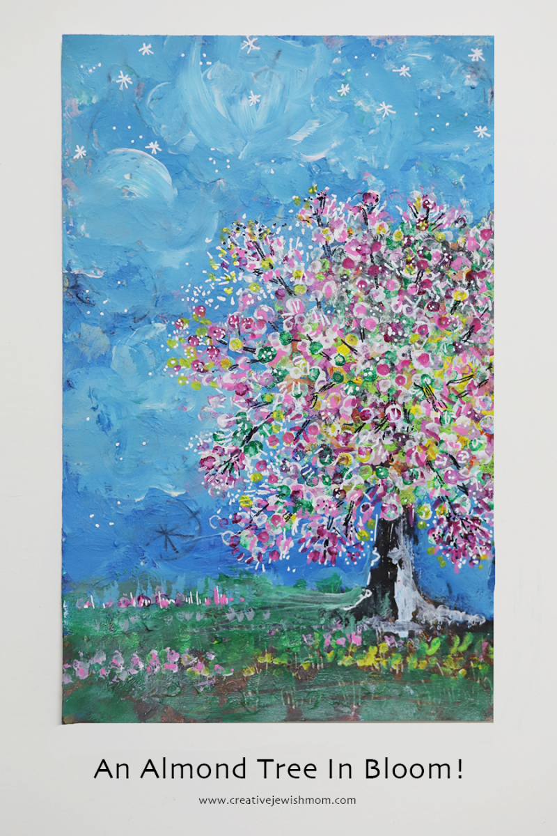 Almond-tree-in-bloom-mixed-media-painting
