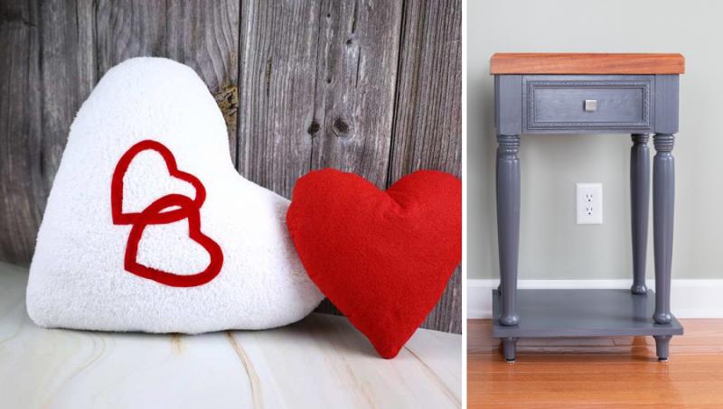 Heart-pillows DIY-nightstand