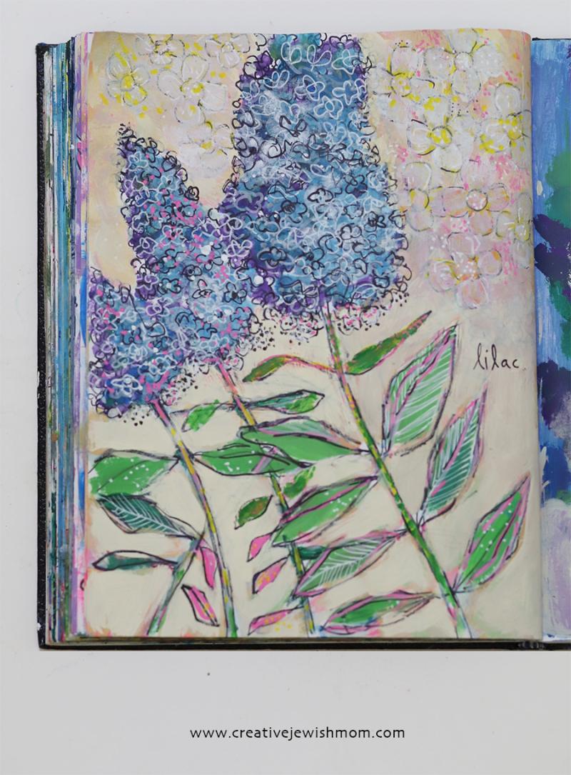 Sketchbook-lilacs-mixed-media
