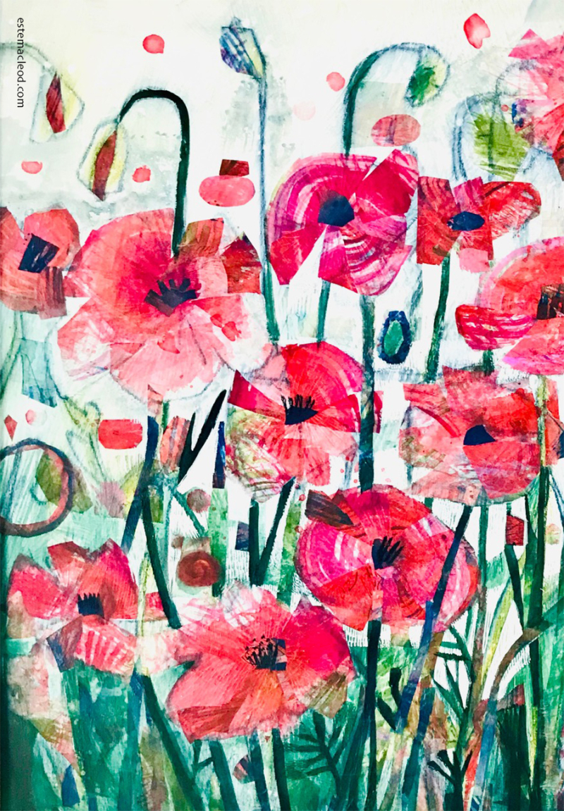 Poppies-painted-paper-collage