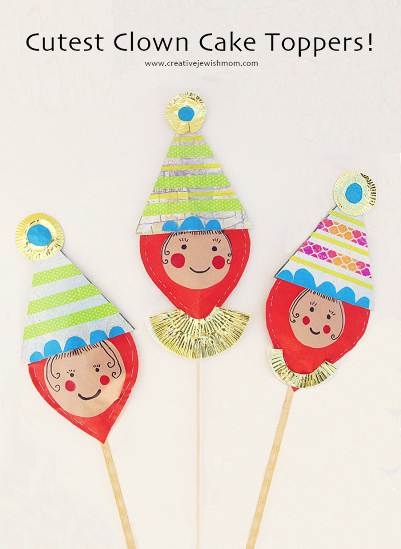 Clown-cake-topper-craft-birthday-purim