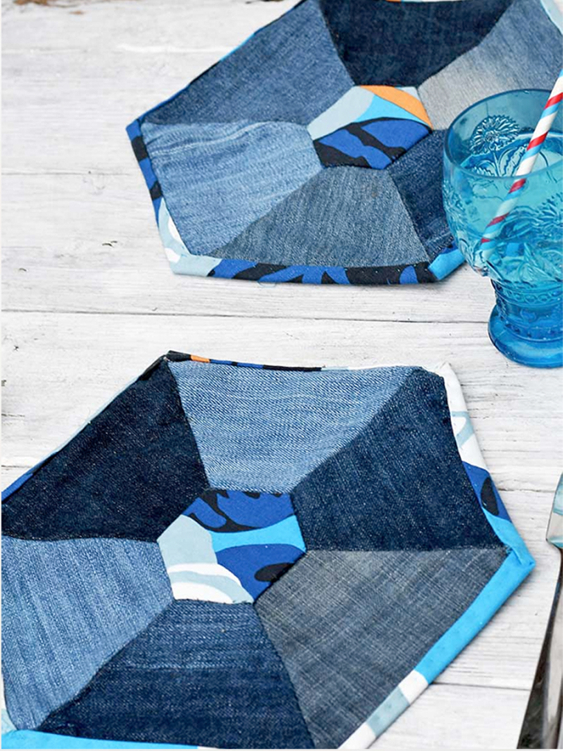 Upcycled-denim-hexigon-placemat