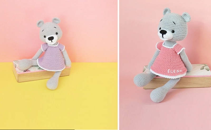 Crocheted-girl-bear-with-dress