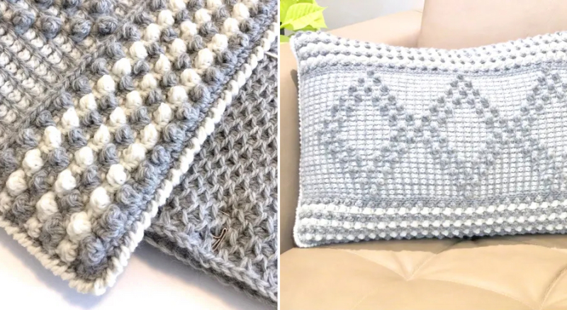 Crocheted-bobble-stitch-diamond-pillow