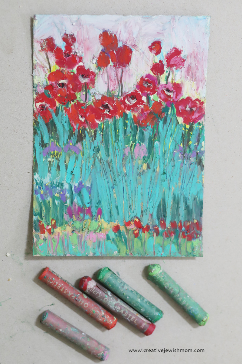 Oil-pastel-poppies