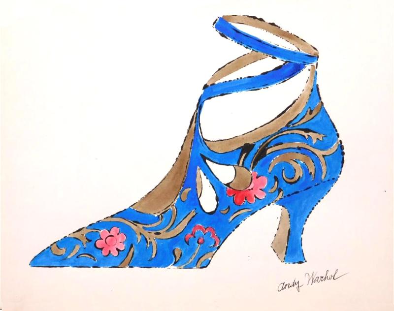 Andy-Warhol-flowered-shoe-illustration