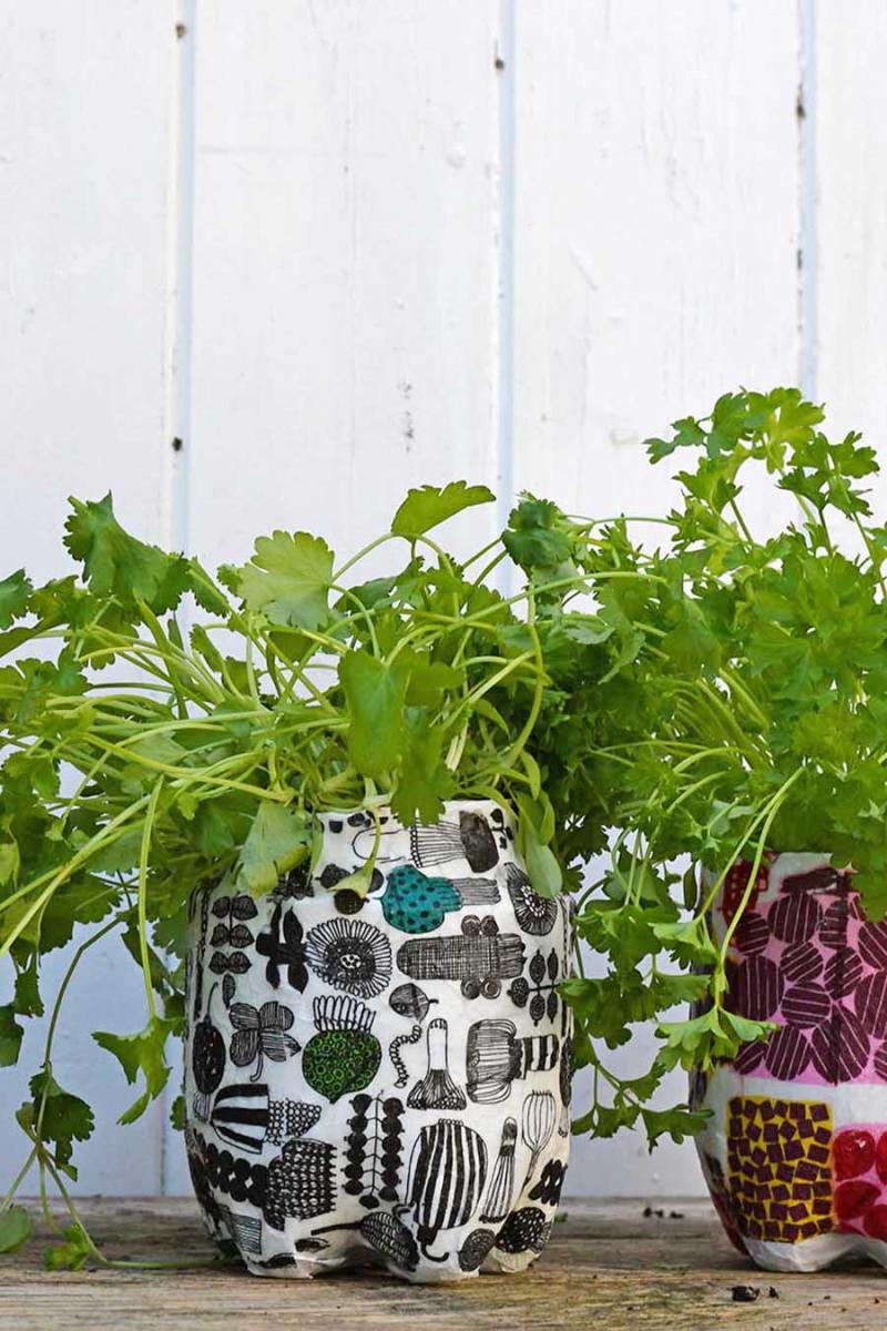Upcycled-soda-bottle-marimekko-planter
