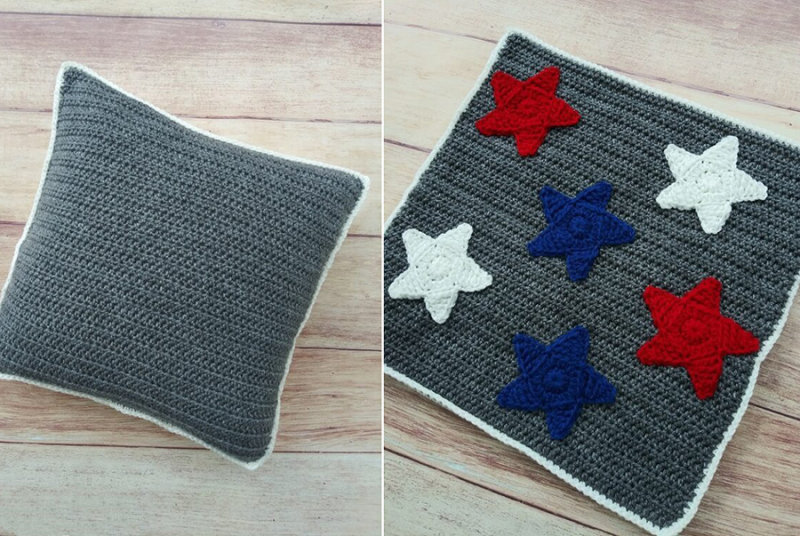 Crochet-pillow-with-star-applique