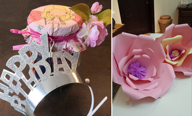 Giant-paper-flowers birthday-in-a-jar