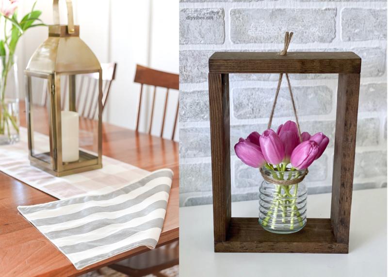 Two-sided-DIY-table-runner vase-in-frame