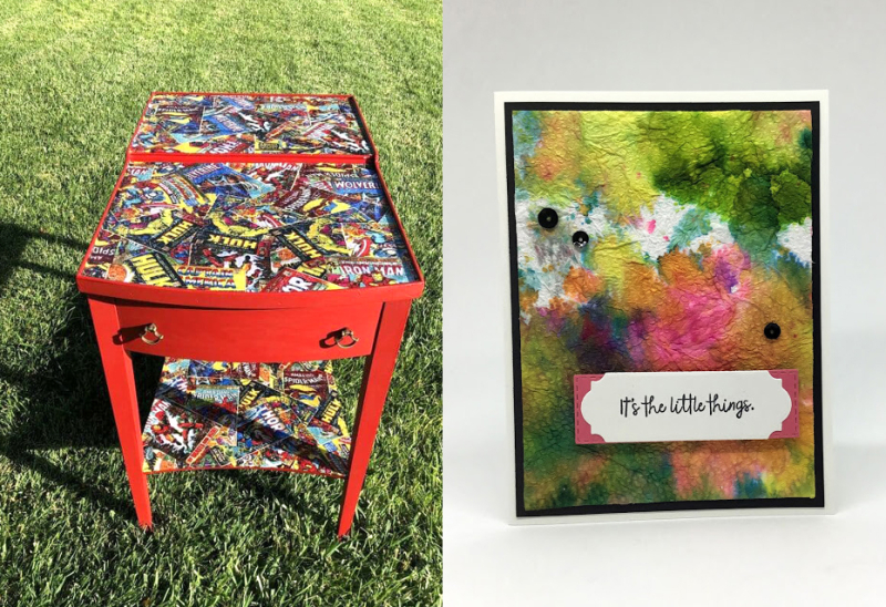 Comics-decoupage-on-old-side-table