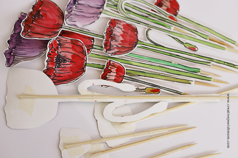 Watercolor-ink-poppies-on-sticks