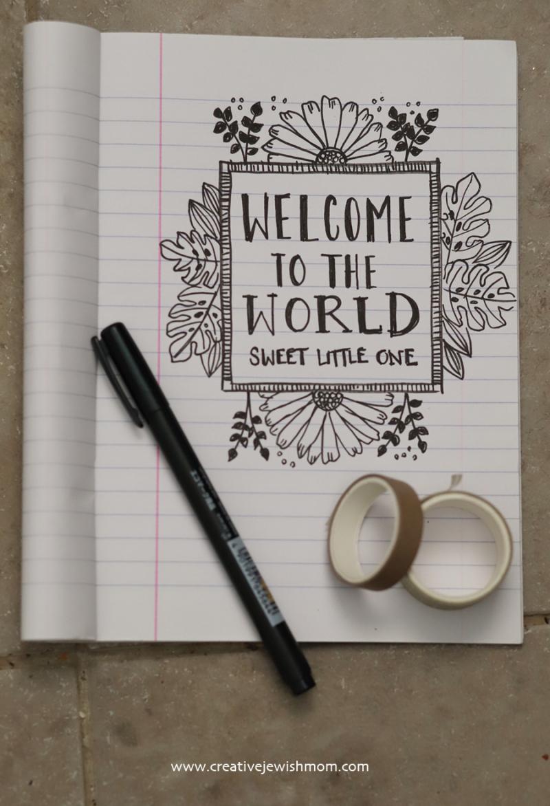 DIY-new-baby-card-botanic-border
