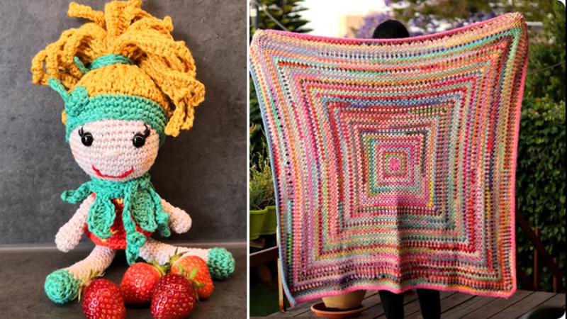 Crochet-granny-in-rounds-blanket crochet-cheerleader-doll