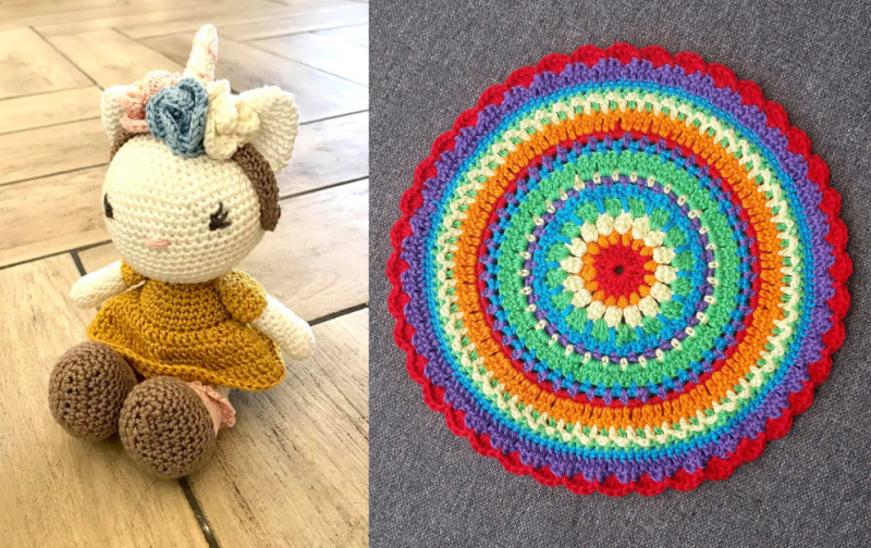 Crochet-unicorn-doll crochet-mandala