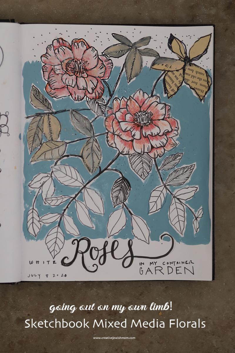 Sketchbook-mixed-media-floral