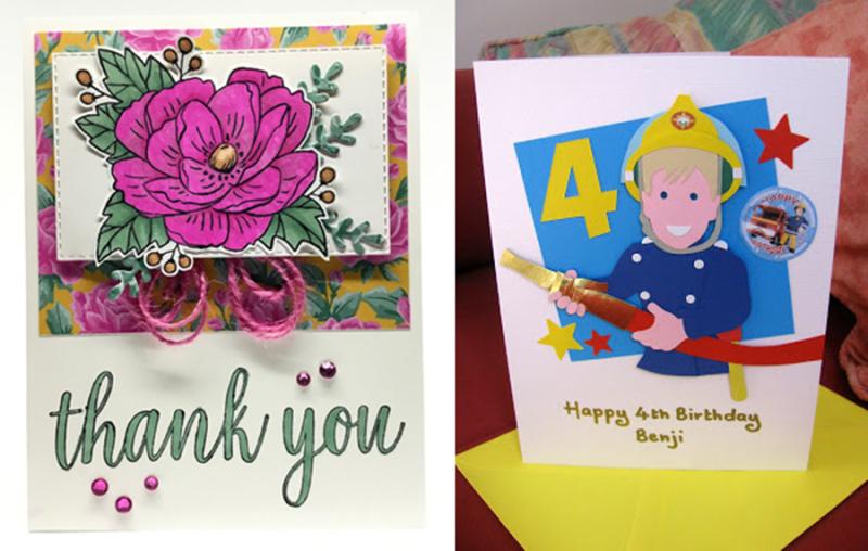 Pink-flower-greeting-card-fireman-birthday-card