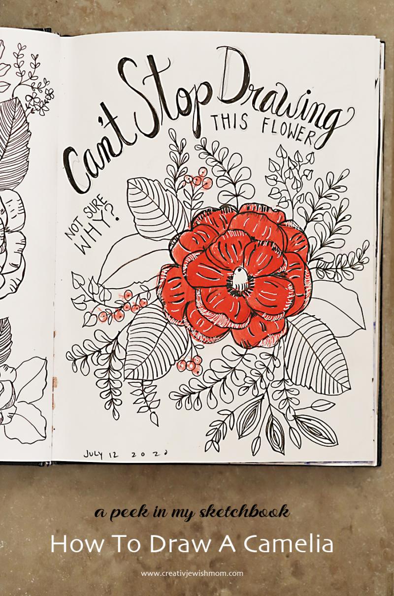 Doodle-camellia-flower-sketchbook