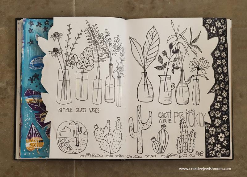 Simple-glass-vase-doodles-with-botanicals