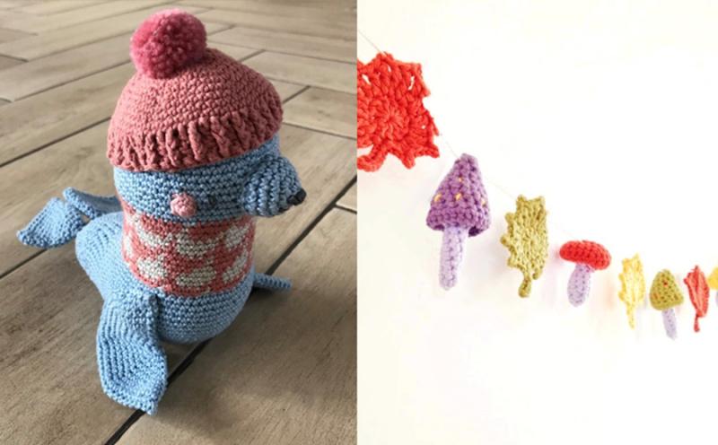 Crocheted-seal-crocheted-woodlands-garland