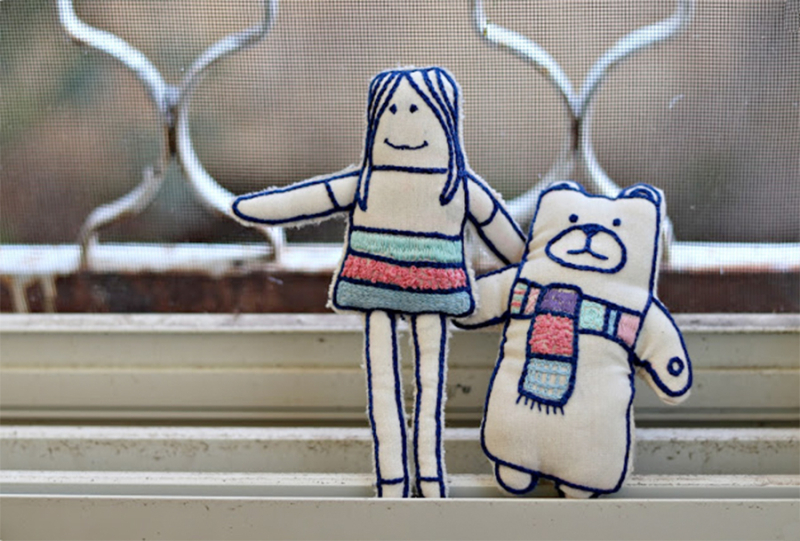 Embroidered stuffies winter