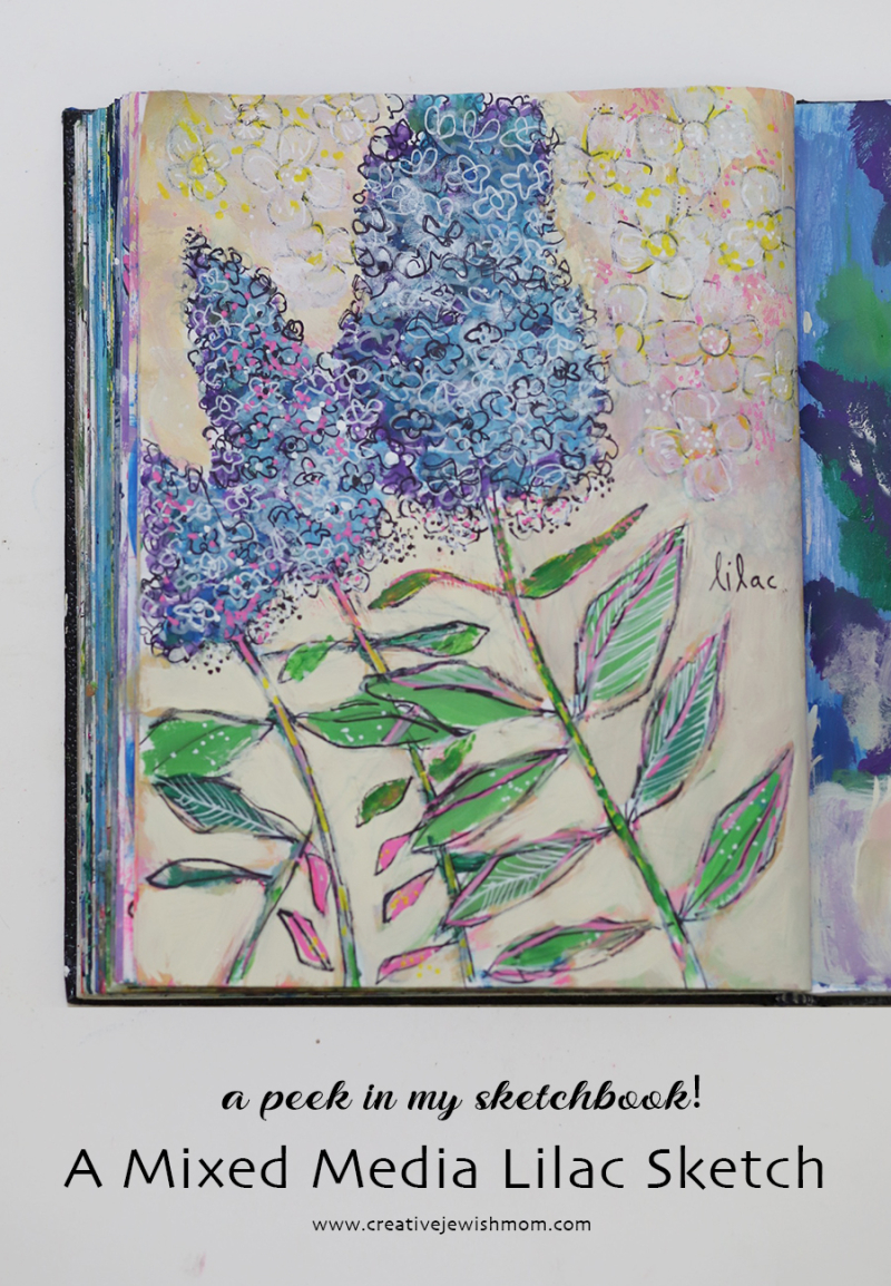 Lilac-blooms-mixed-media-sketchbook