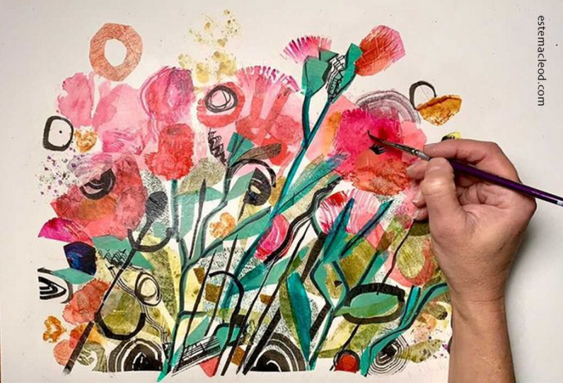 Paper-collage-with-painted-paper-process