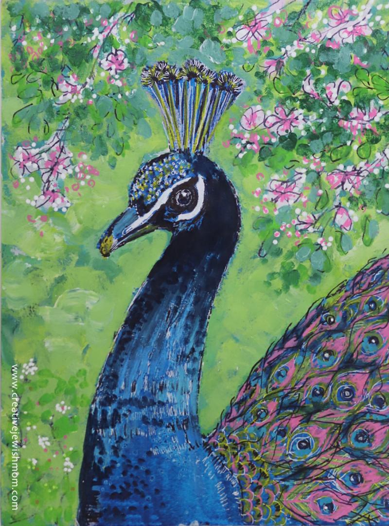 Cobalt-blue-peacock-painting