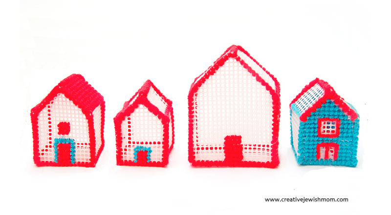Plastic-canvas-houses