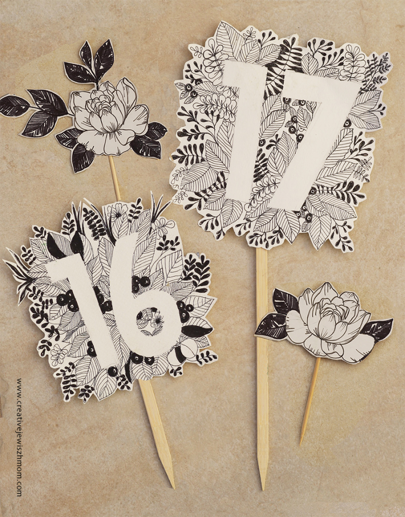 Doodle-botanical-birthday-number