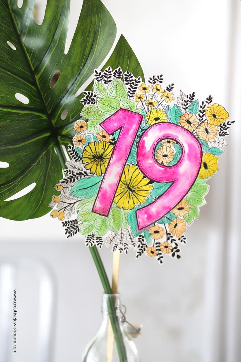 Birthday-centerpiece-IKEA-HACK-botanical-doodle-with-monstera-leaf