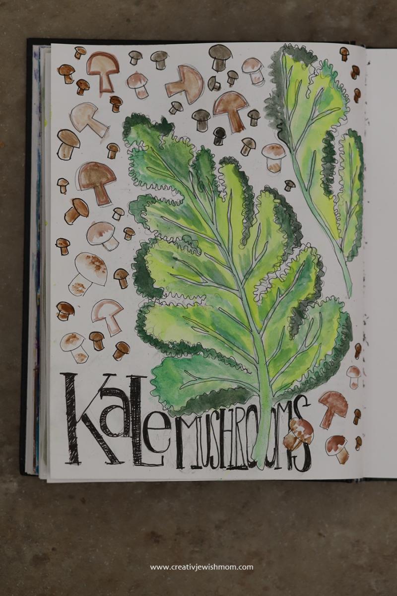 Kale-mushrooms-sketch-watercolor
