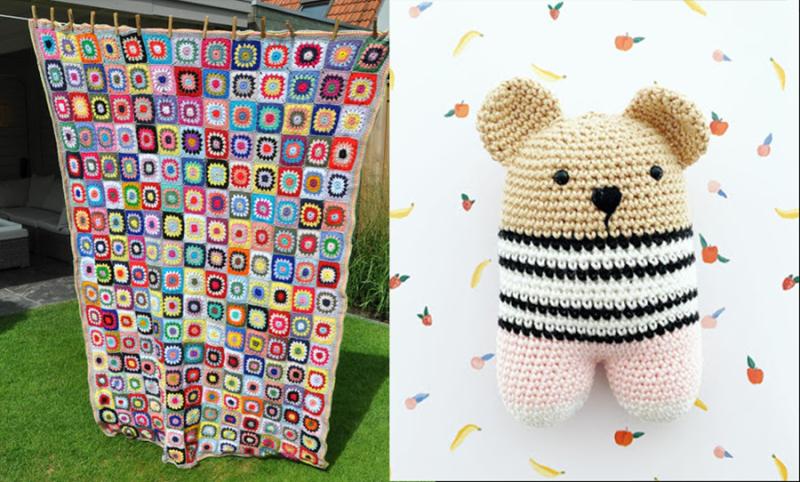 Granny-round-blanket crochet-2leg-baby-bear