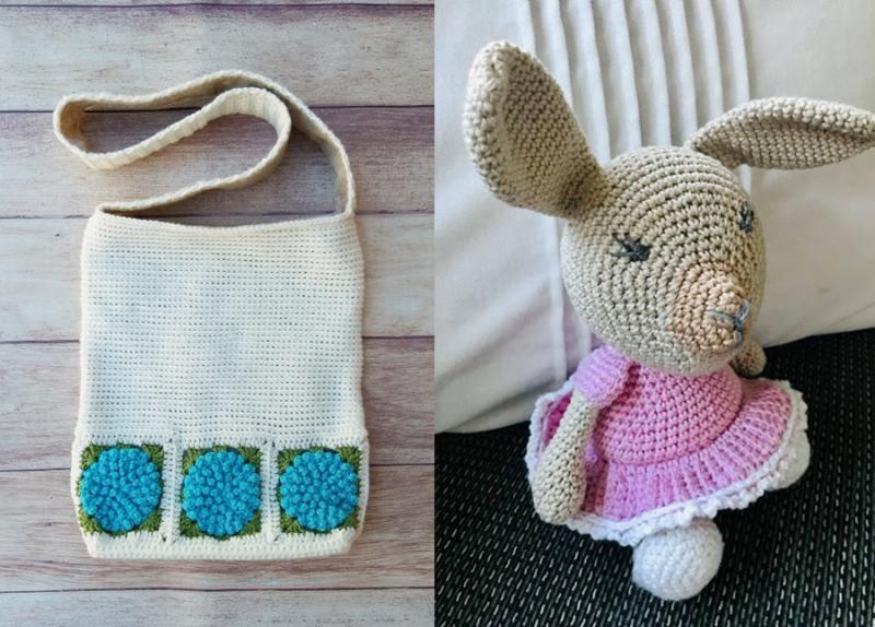 Crochet-hydrangea-bag crochet-bunny-doll