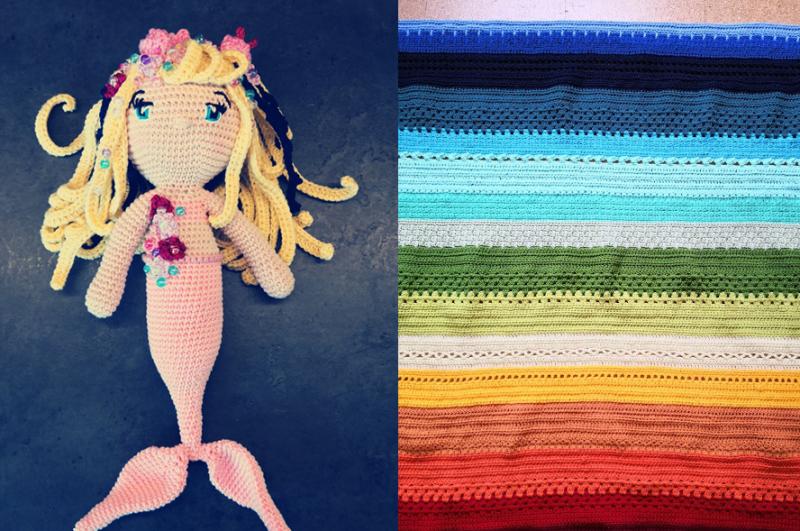 Crochet-mermaid-doll striped-colorful-crochet-blanket
