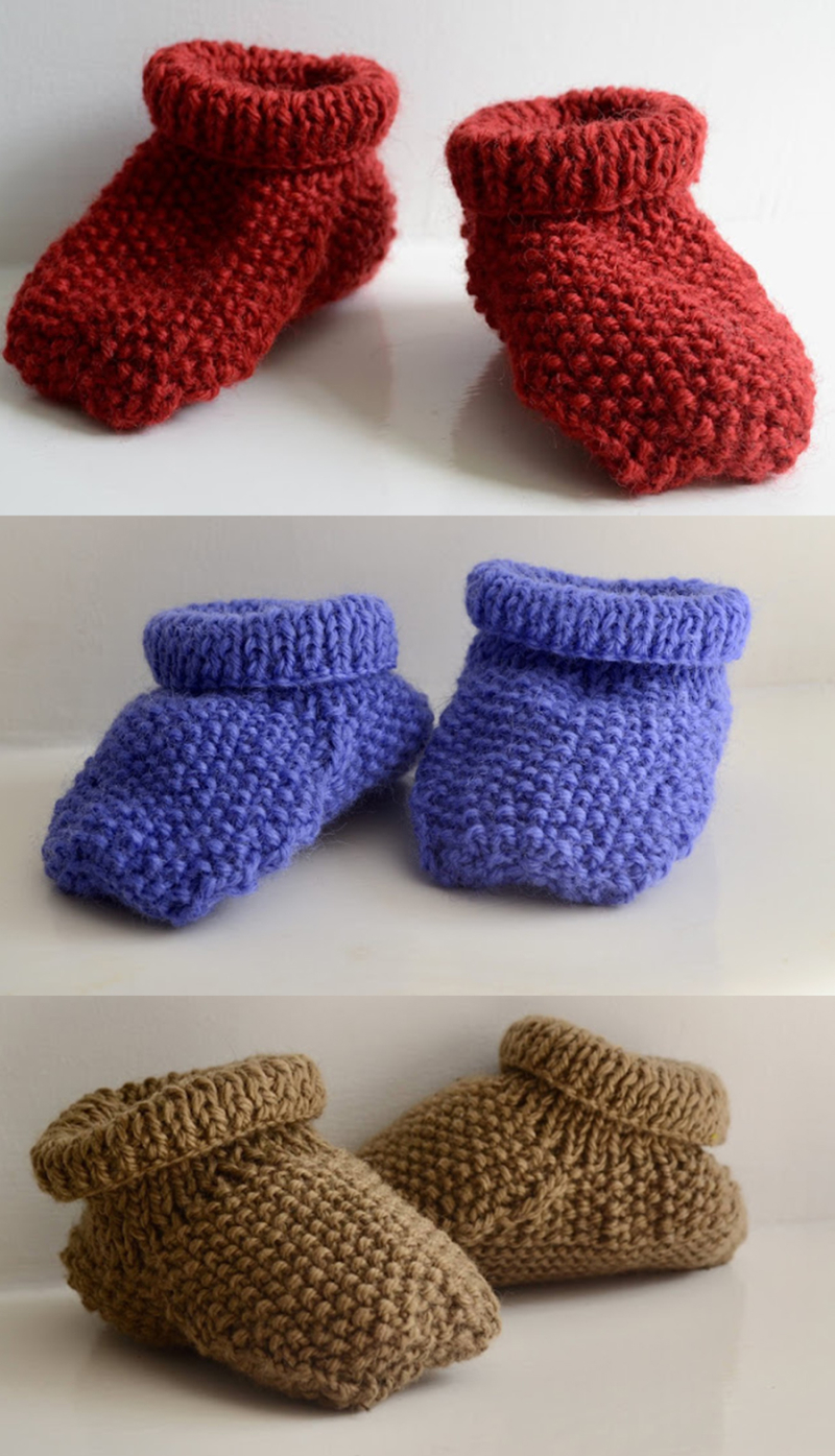 Knit-moss-stitch-baby-booties