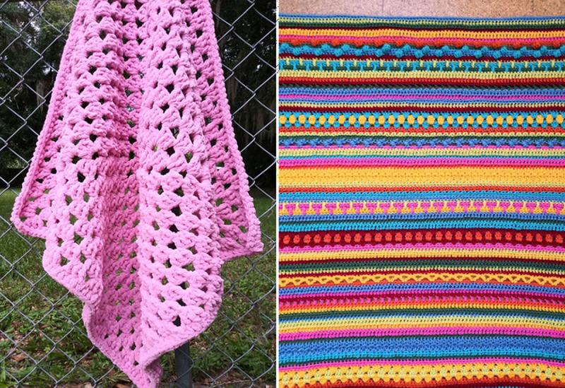 Giant-granny-blanket crochet-stripes
