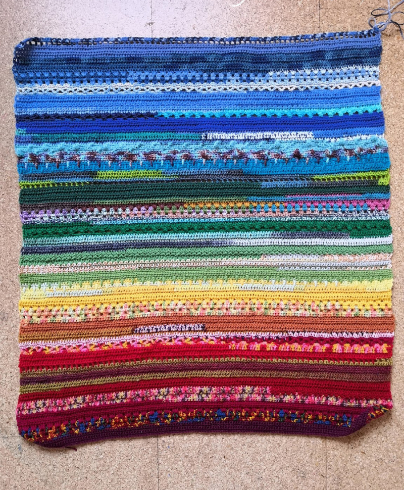 Crocheted-striped-stitch-mix-blanket
