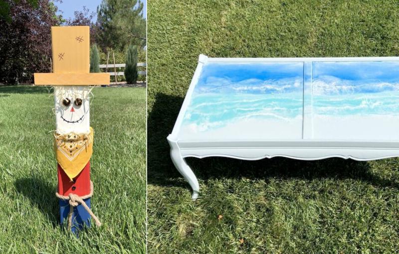 DIY-wood-post-scare-crow epoxy-coffee-table