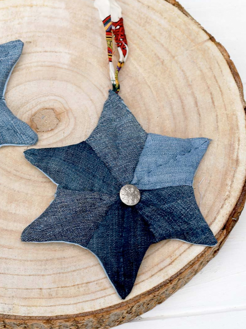 Recycled-jeans-6-pointed-star-ornament