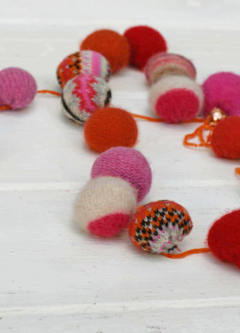Upcycled-sweater-ball-garland