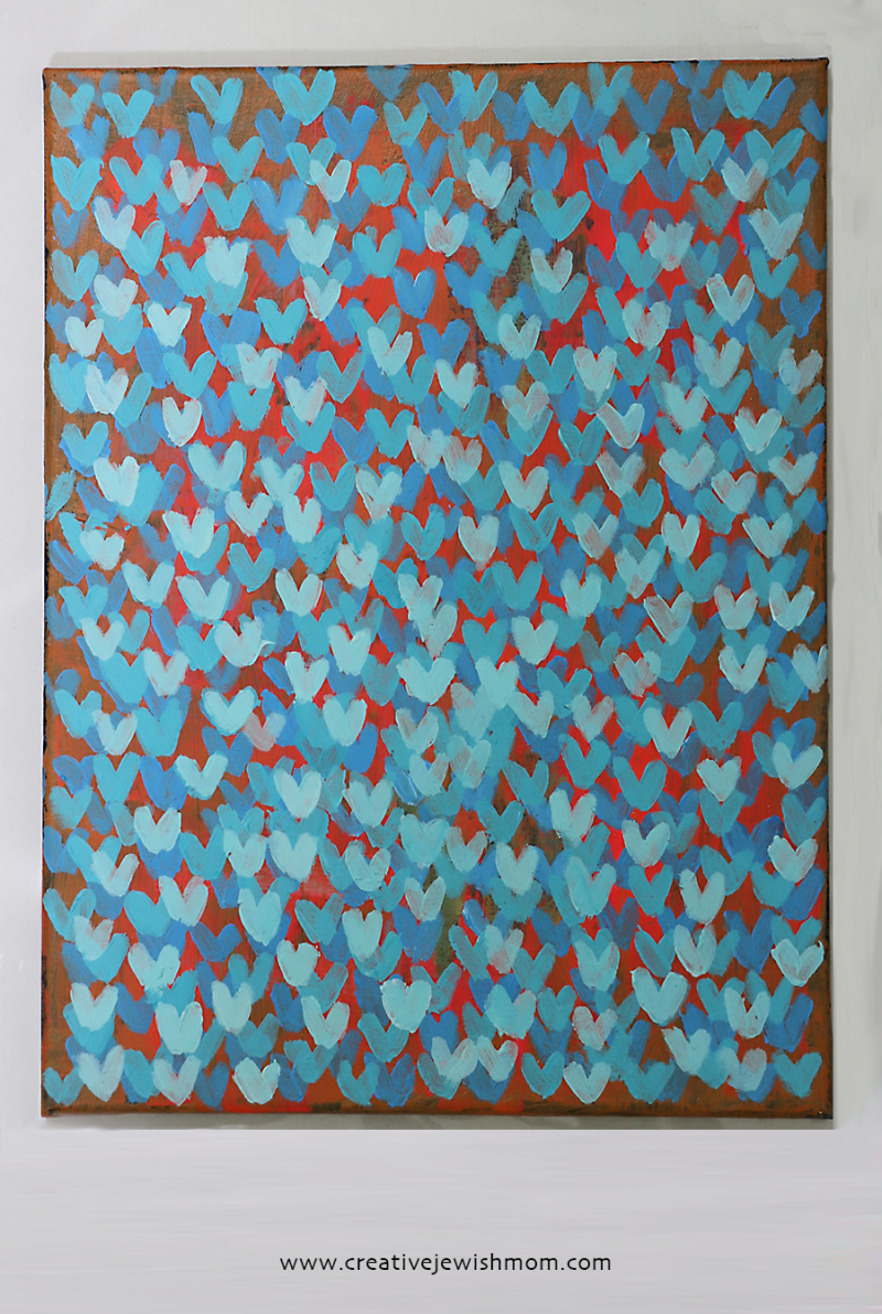Tiny-blue-hearts-on-canvas